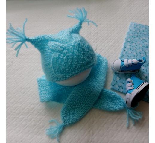 комплект Сова шапочка+шарф для куклы