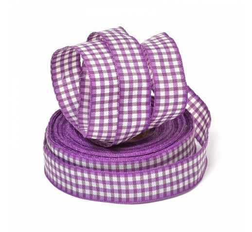 лента шотландка фиолетовая 15мм