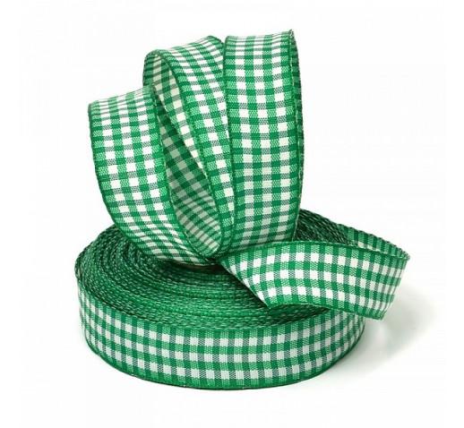лента шотландка зеленая 15мм